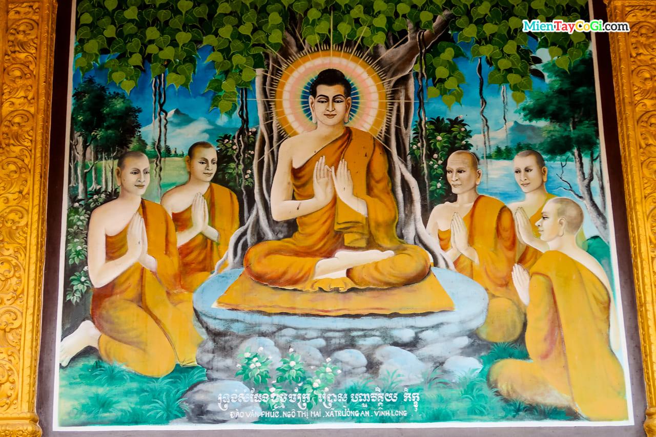 Bức tranh Phật ngồi dưới gốc bồ đề giảng đạo ở chùa Dơi