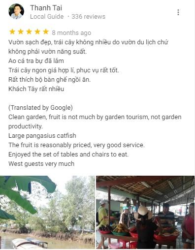Đánh giá khách du lịch vườn trái cây Ba Cống trên Google Maps