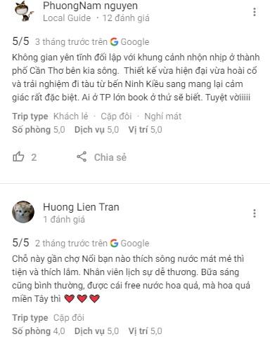 Đánh giá khách du lịch về Bình Minh Ecolodge trên Google Maps
