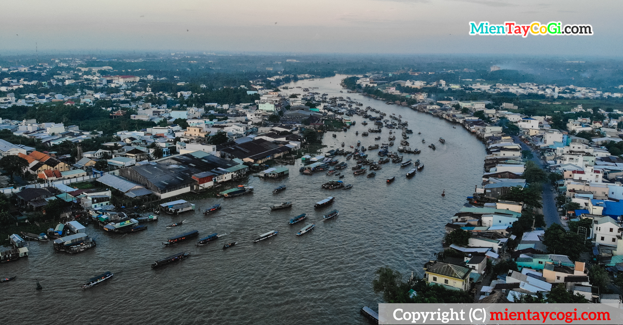 Cai Rang floating market in Vietnam view from above