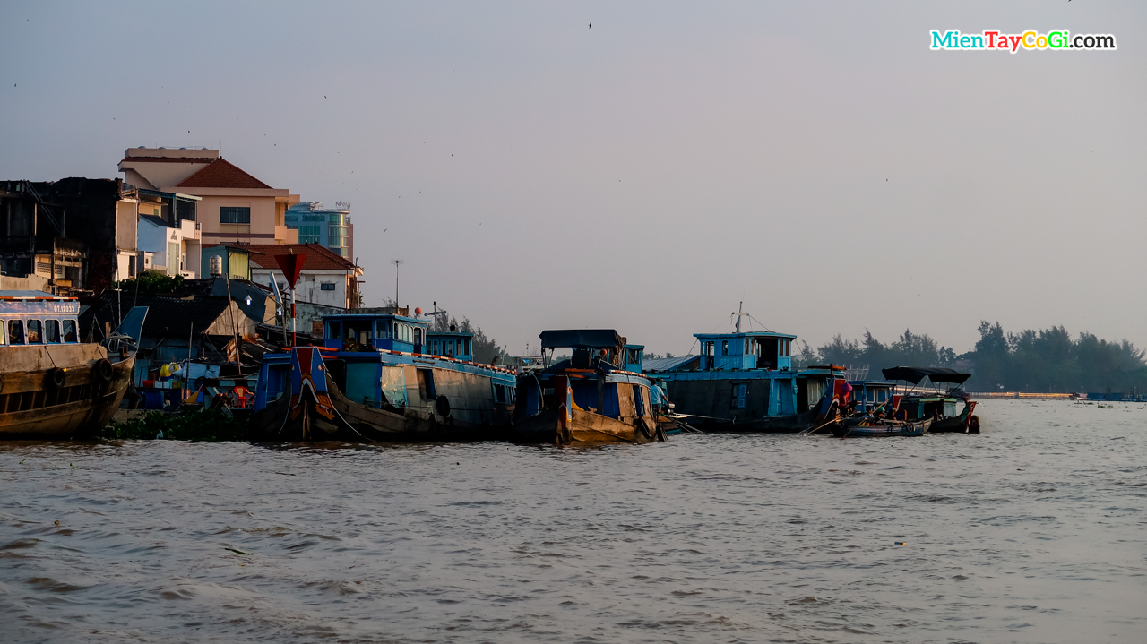 Boats on the Hau River in Can Tho