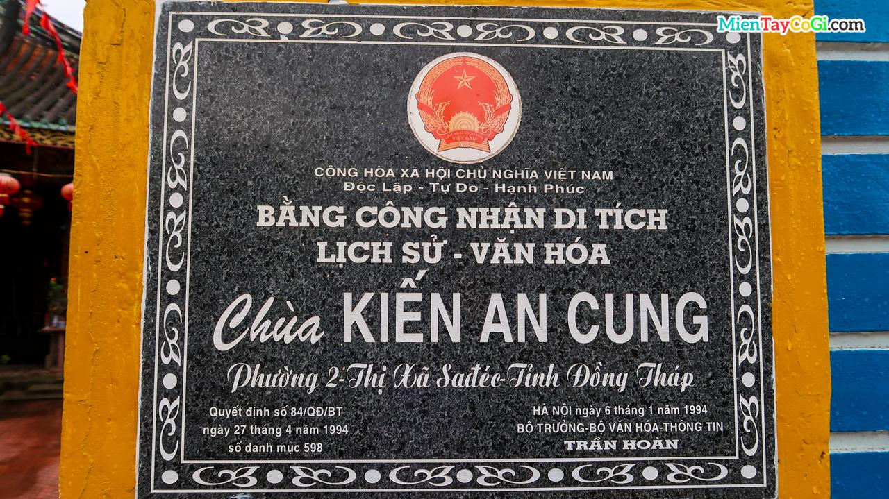 Kiến An Cung là di tích văn hóa lịch sử