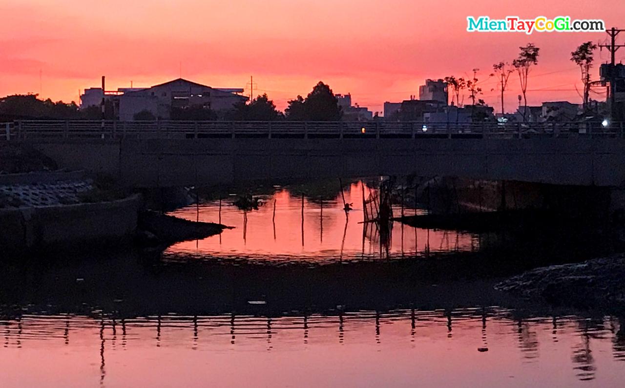 Giăng lưới ngăn hồ nước lại để bắt cá giữa lòng thành phố