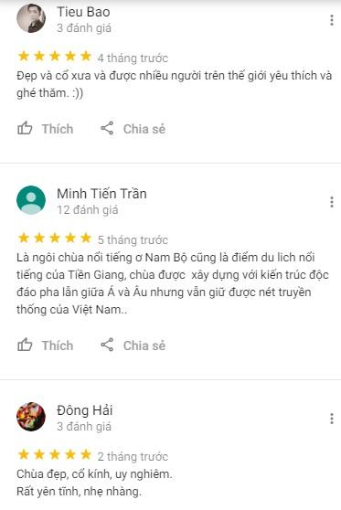 Đánh giá của khách du lịch về chùa Vĩnh Tràng ở Tiền Giang