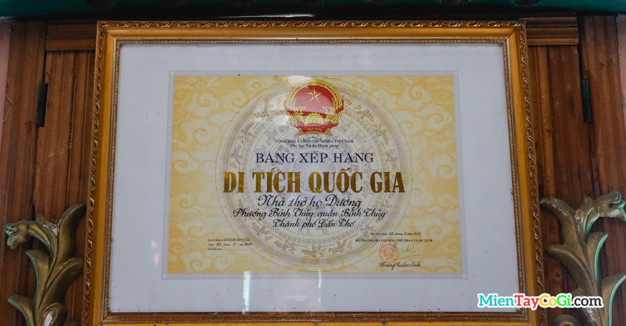 BXH di tích quốc gia nhà thờ họ Dương