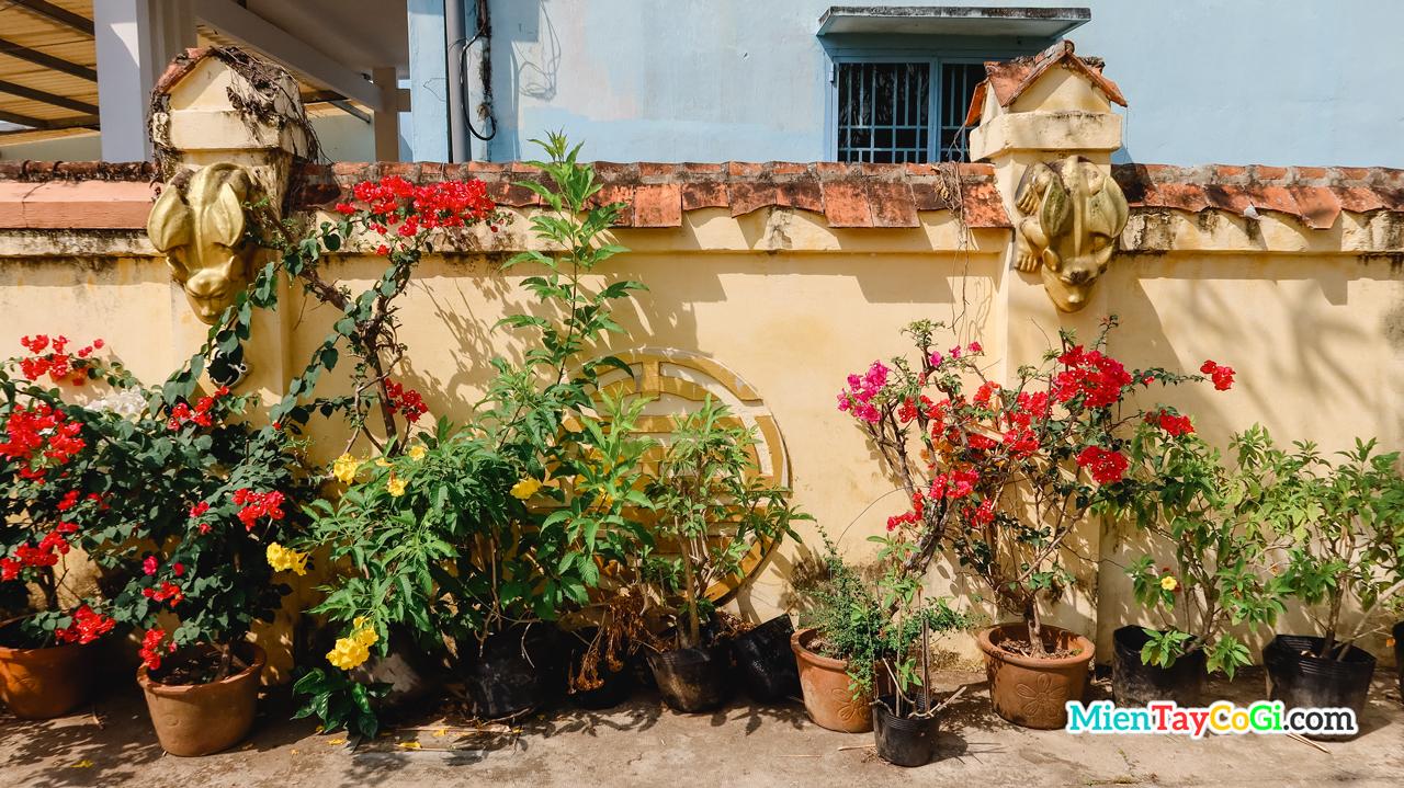 Bức tường ngăn giữa nhà cổ Bình Thủy và nhà hàng xóm