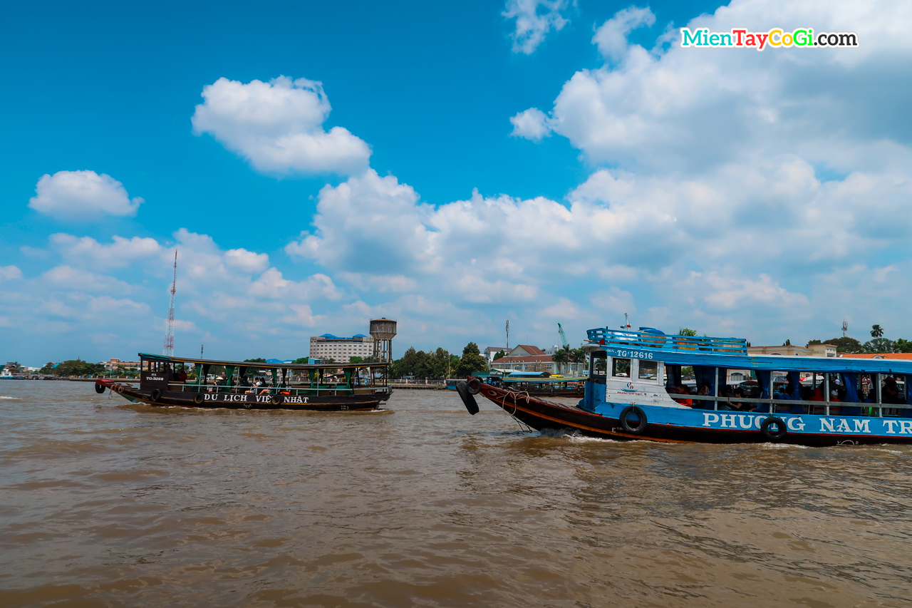 The ships take tourists to the Con Phung Con Thoi Son area