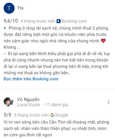 Đánh giá khách ở về Mekong Chill homestay Cần Thơ