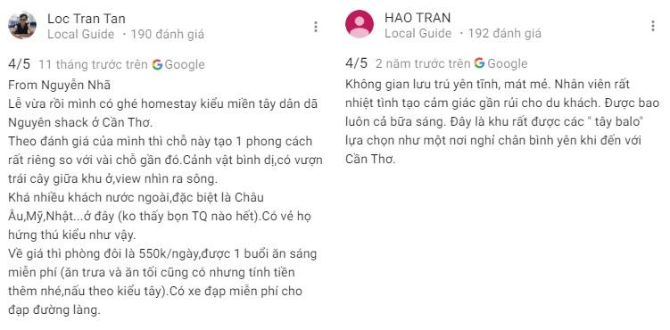 Đánh giá khách ở về Nguyen Shack homestay Cần Thơ