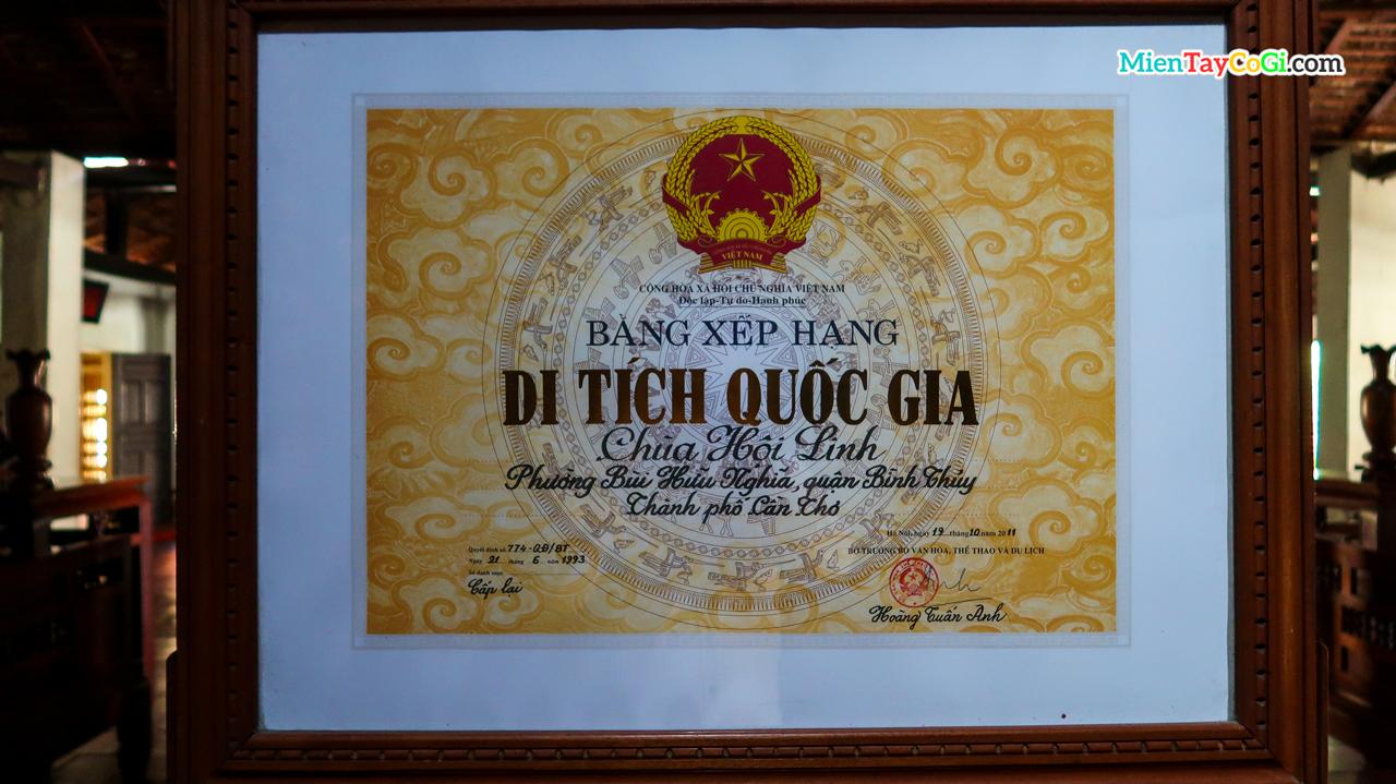 Bằng khen xếp hạng di tích quốc gia chùa Hội Linh