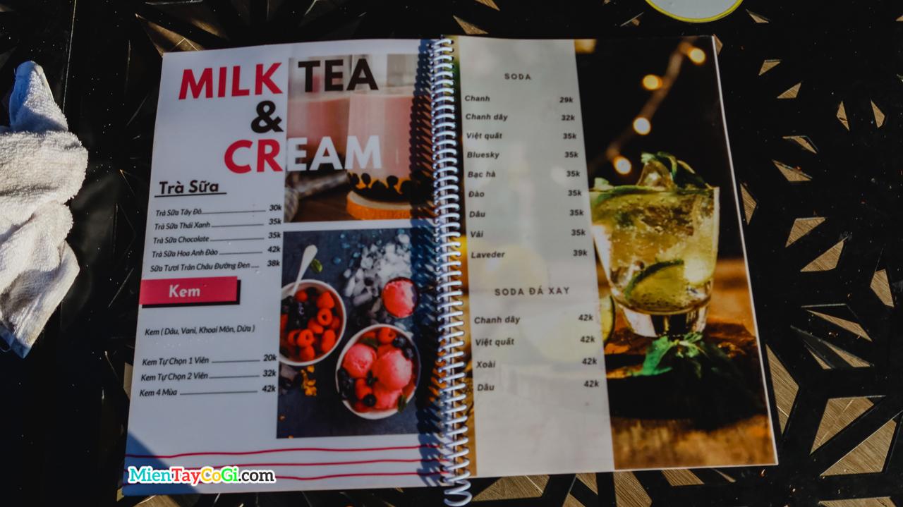 Menu trà sữa và cream nhà hàng Tây Đô