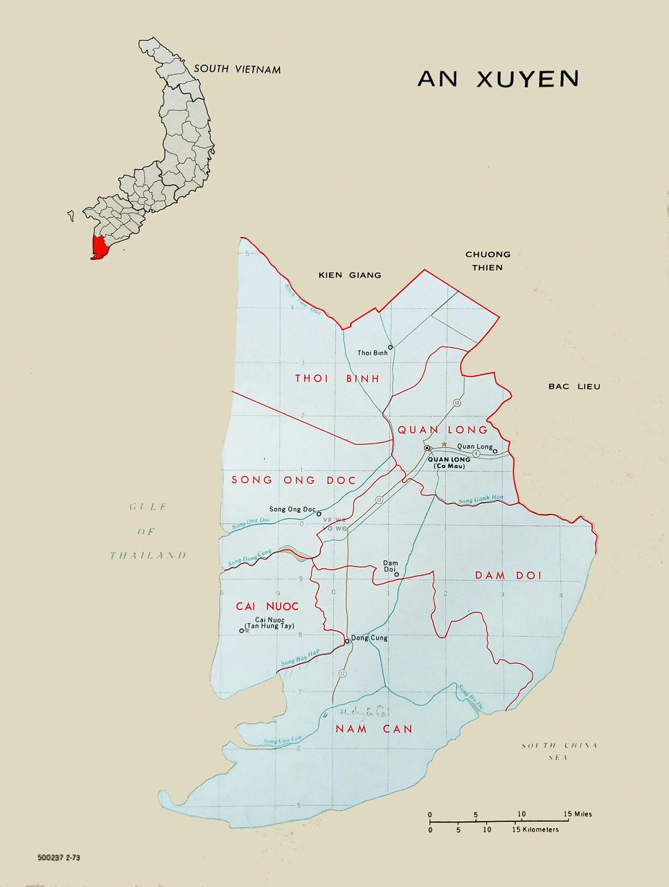 Bản đồ tỉnh An Xuyên năm 1973