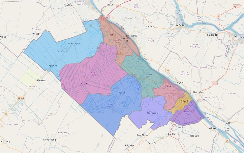 Bản đồ hành chính thành phố Cần Thơ