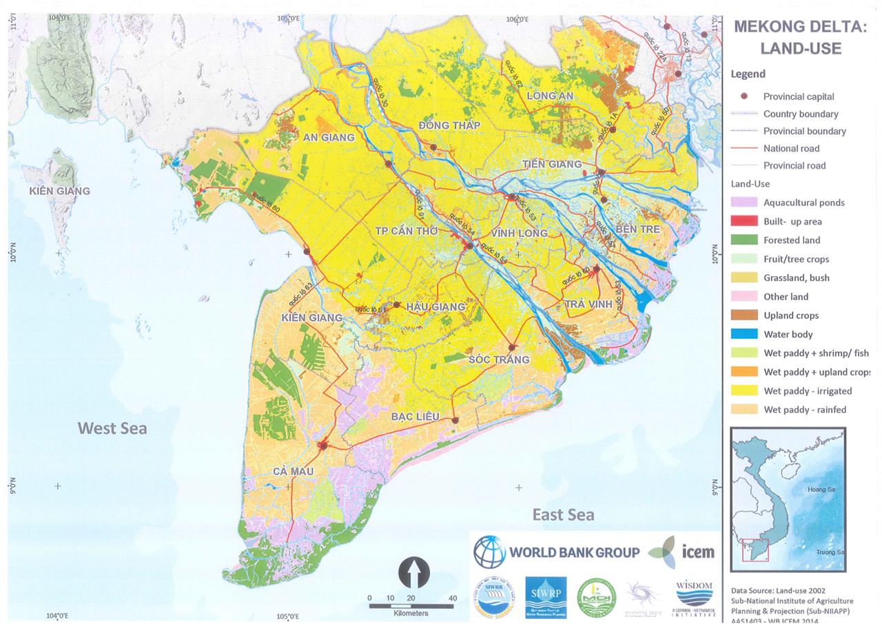 Bản đồ miền Tây - Đồng Bằng Sông Cửu Long Việt Nam