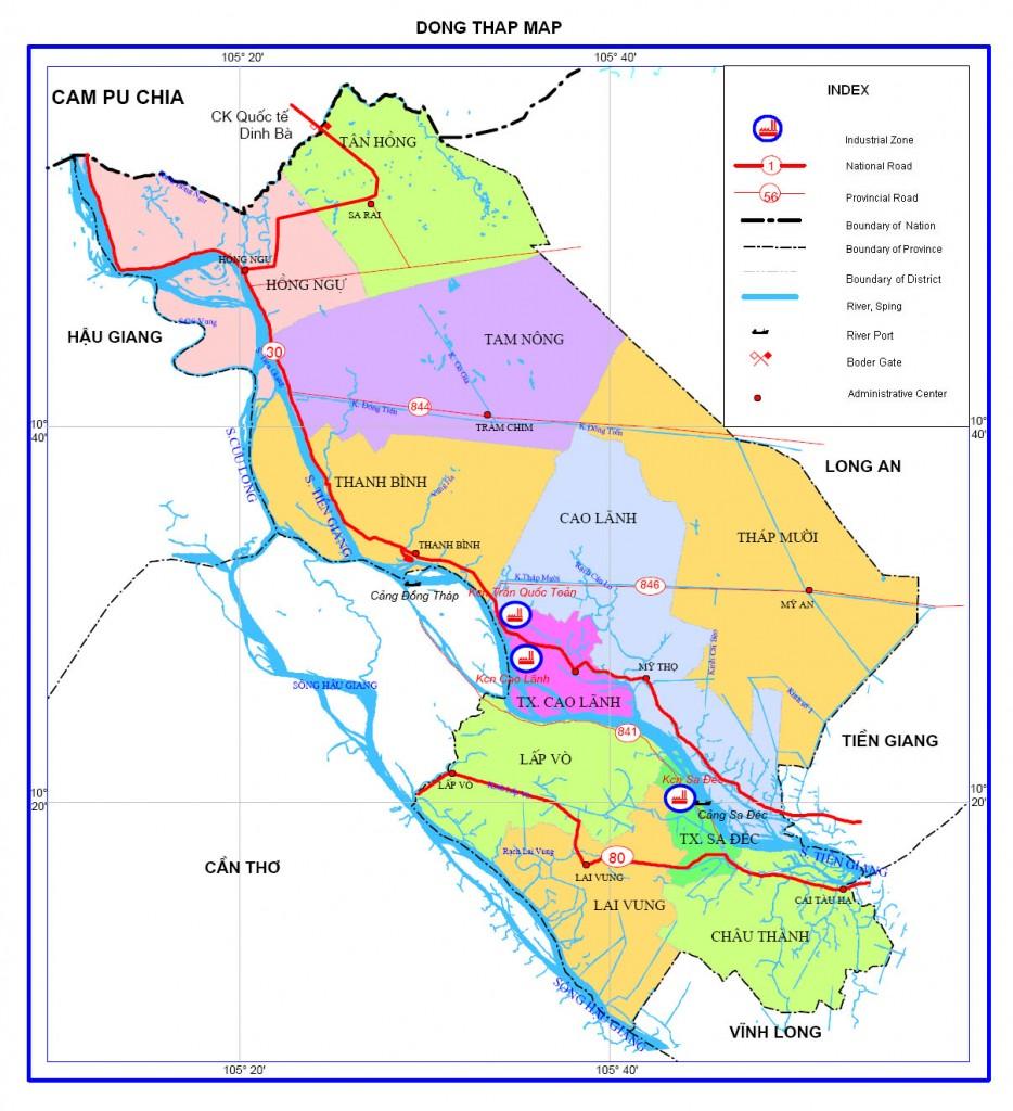 Bản đồ hành chính Đồng Tháp có bao nhiêu huyện