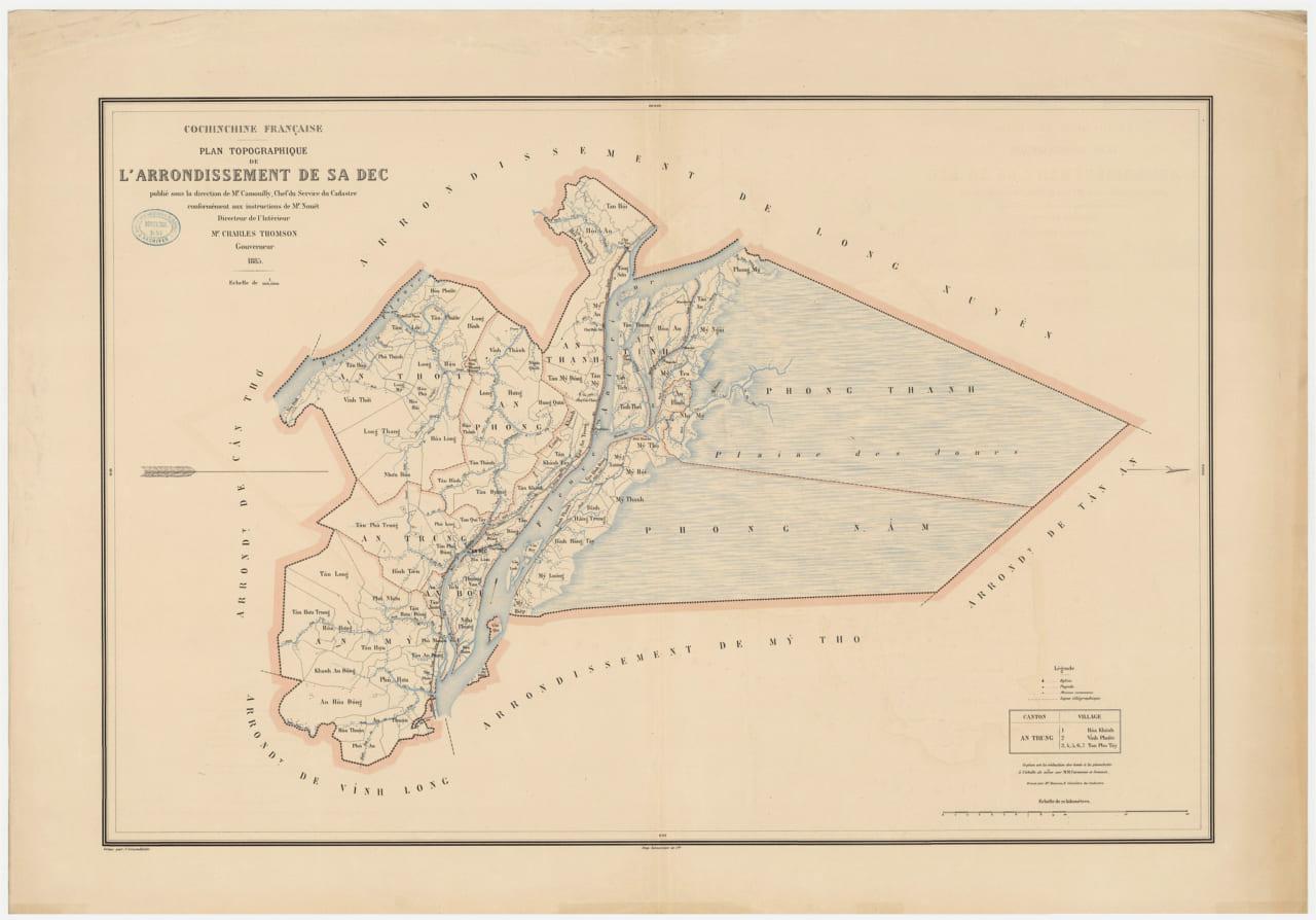Bản đồ năm 1885 của huyện Sa Đéc do Pháp vẽ (Hướng bắc bên trái)