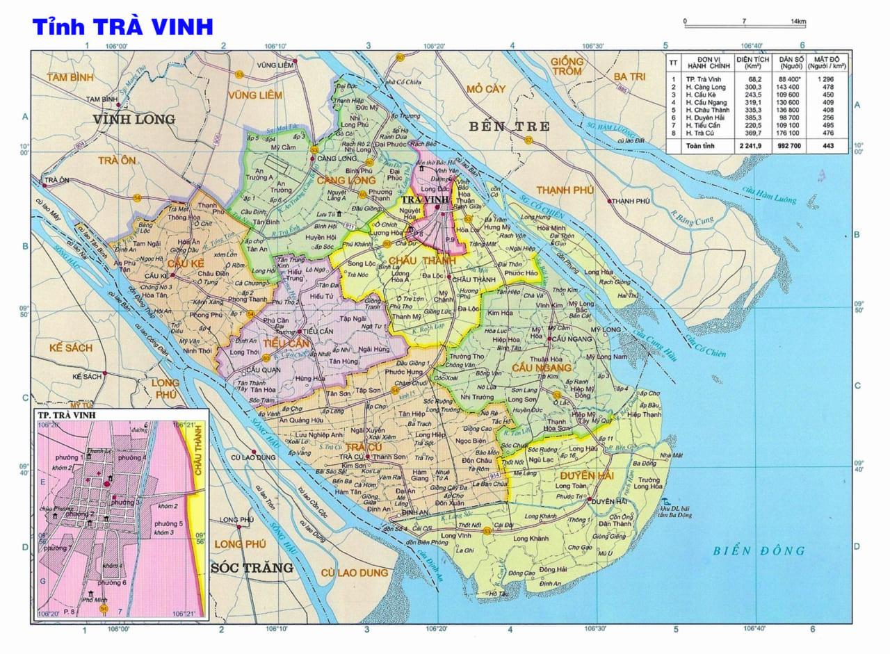 Bản đồ tỉnh Trà Vinh năm 1920
