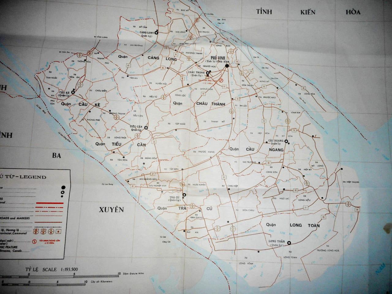 Bản đồ tỉnh Trà Vinh năm 1970
