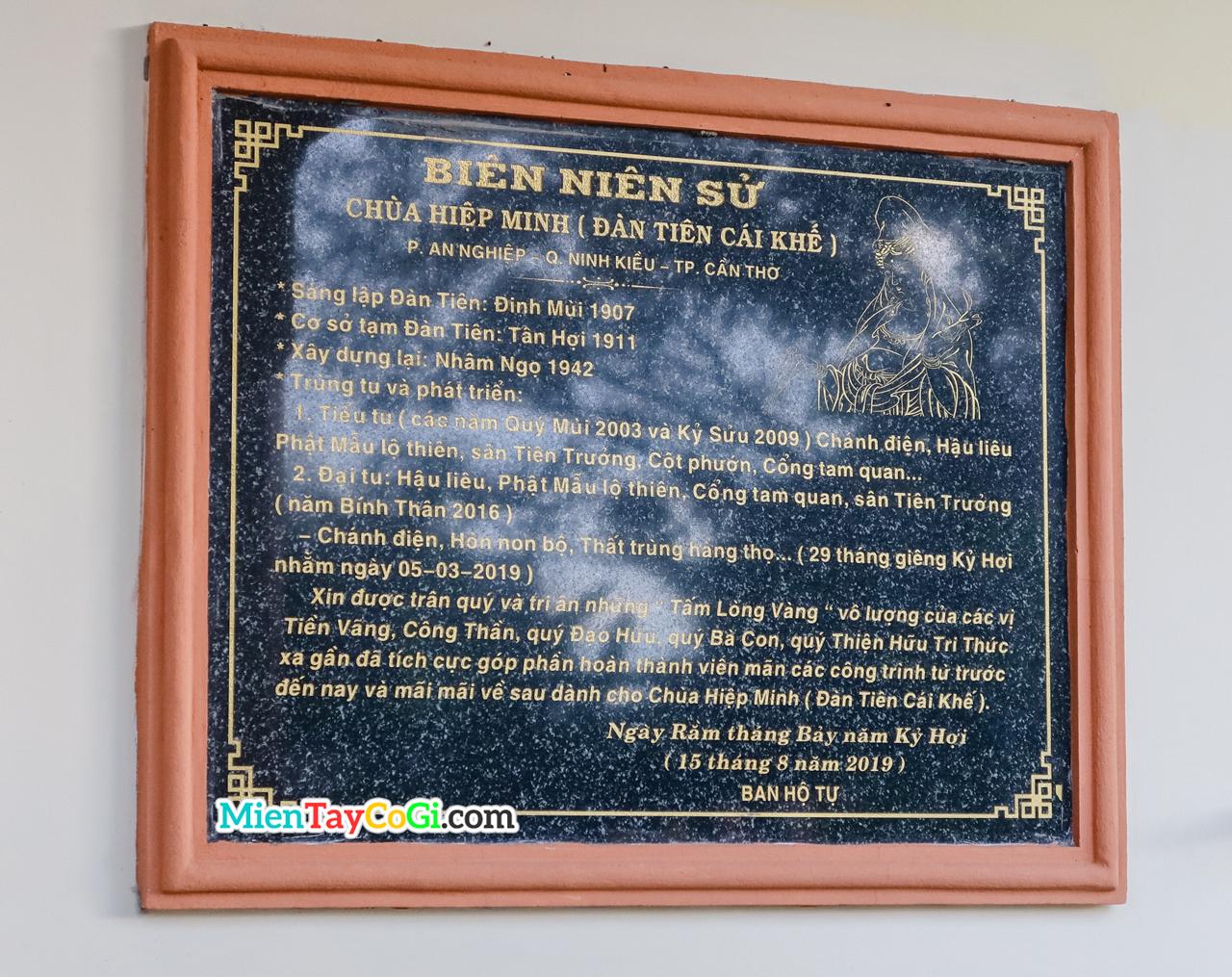 Bảng niên sử chi tiết của Đàn Tiên Cái Khế - chùa Hiệp Minh