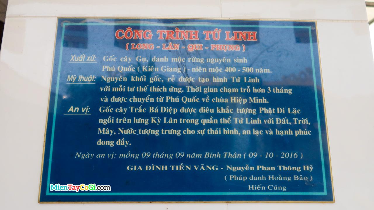 Bảng ghi chú công trình Tứ Linh chùa Hiệp Minh