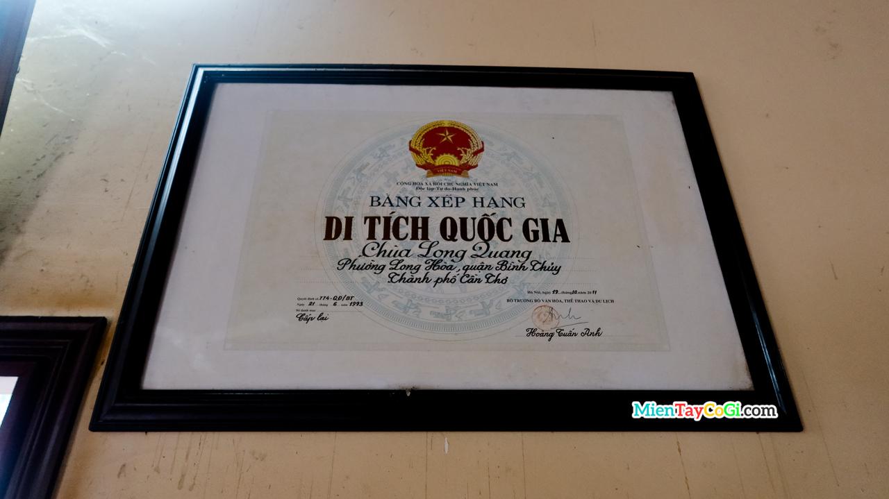 Bảng xếp hạng di tích quốc gia chùa Long Quang cổ tự Cần Thơ