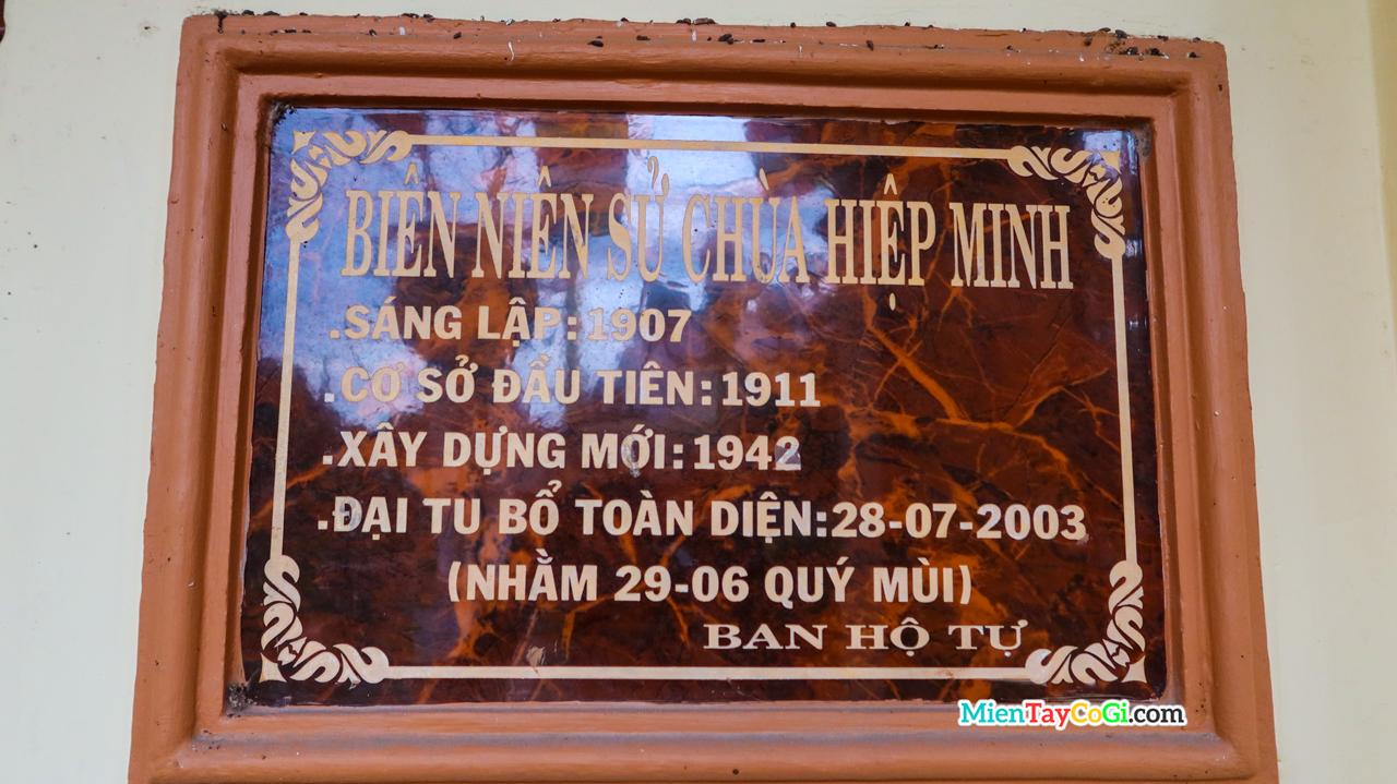 Biên niên sử tóm tắt của chùa Hiệp Minh Cần Thơ