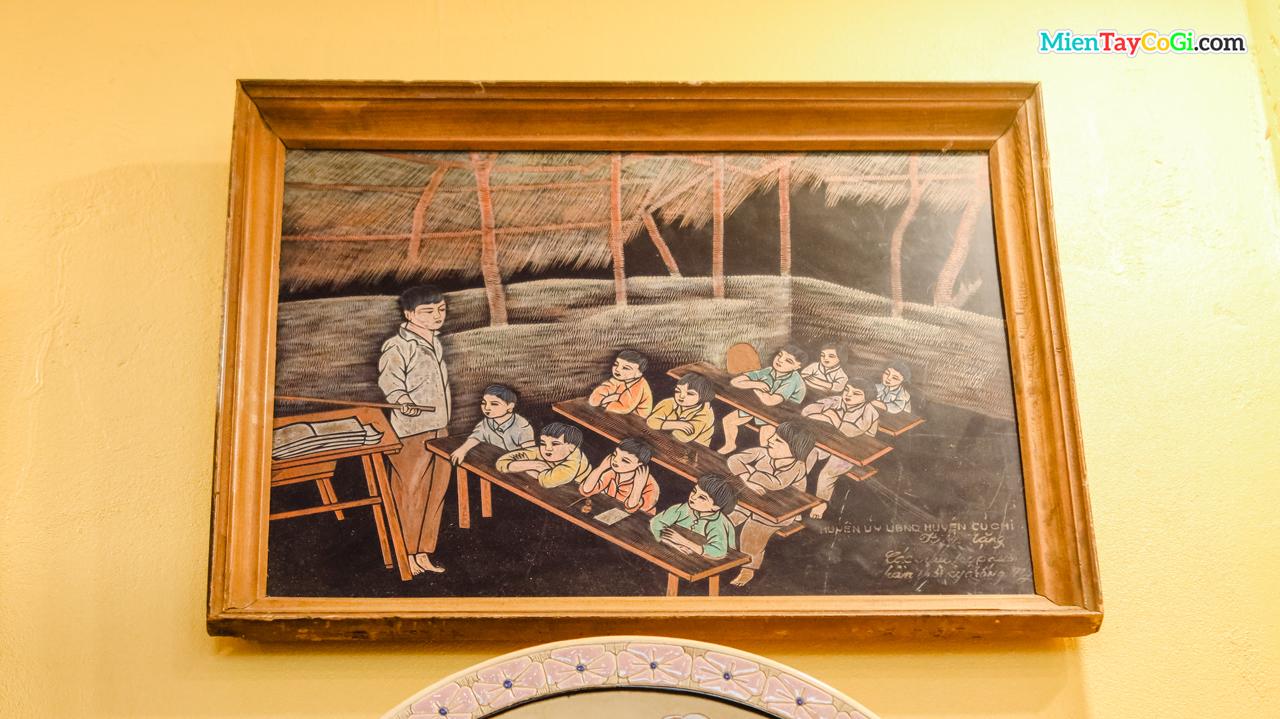 Bức tranh mô tả trường học ở Củ Chi ngày trước