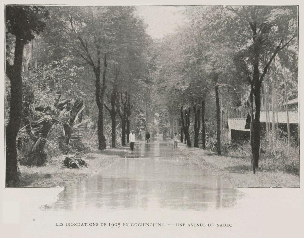 Đại lộ Sa Đéc bị ngập năm 1905 - ảnh Đồng Tháp xưa