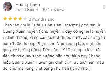 Đánh giá của khách tham quan về chùa Quang Xuân Cần Thơ