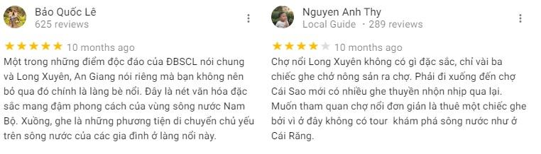 Đánh giá khách tham quan về chợ nổi Long Xuyên - An Giang