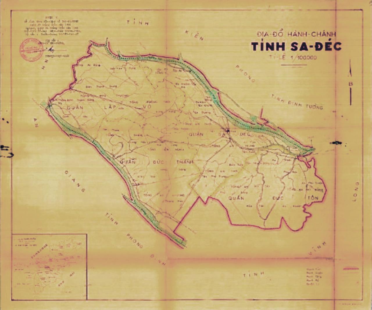 Địa đồ tỉnh Sa Đéc trước năm 1975