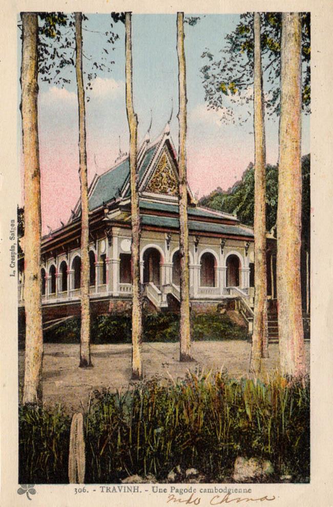 Postcard về hình 1 ngôi chùa Khmer ở Trà Vinh xưa