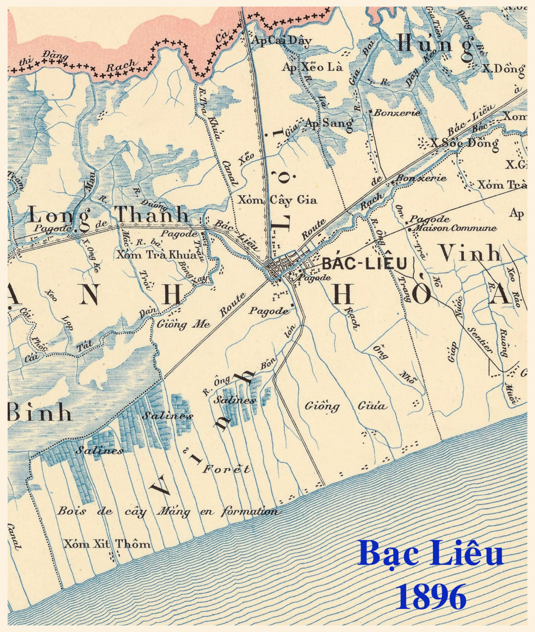 Bản đồ Bạc Liêu năm 1896