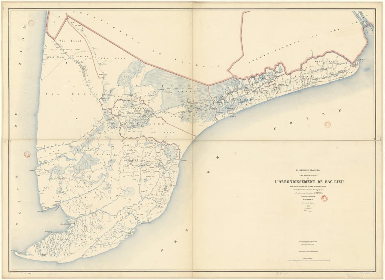 Bản đồ địa hạt Bạc Liêu năm 1896