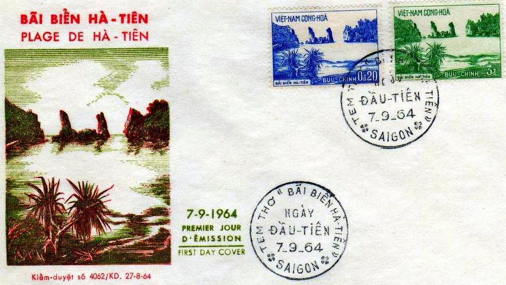 Postcard Hòn Phụ Tử - Bãi Biển Hà Tiên năm 1964