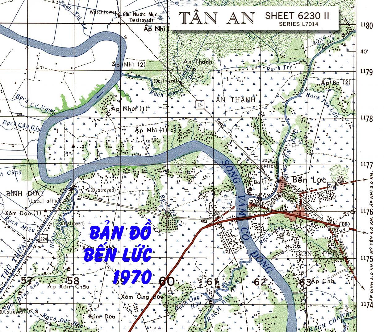 Bản đồ Bến Lức năm 1970