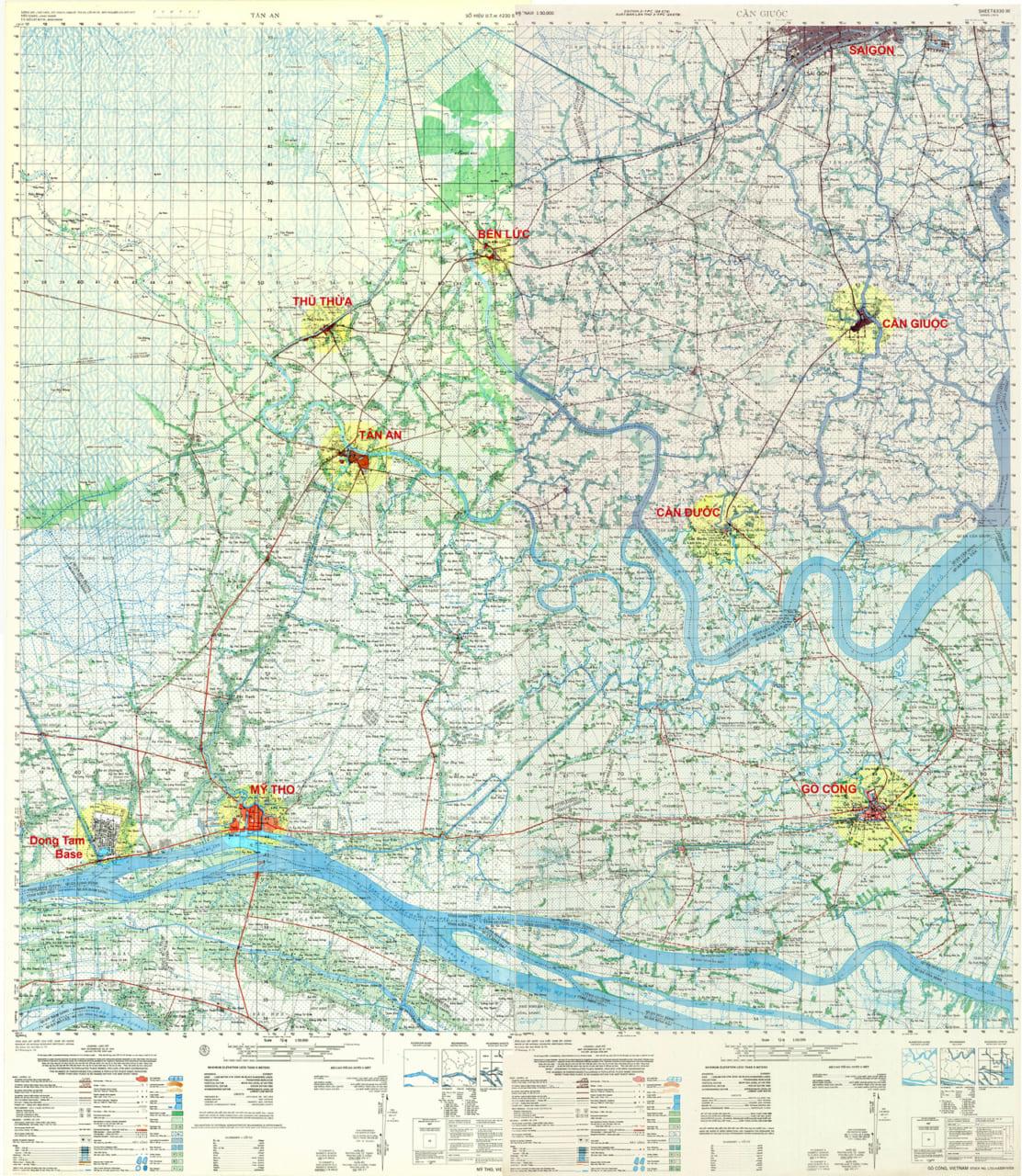 Bản đồ Chợ Lớn - Bến Lức - Thủ Thửa - Tần An - Mỹ Tho - Cần Giuộc - Cần Đước - Gò Công