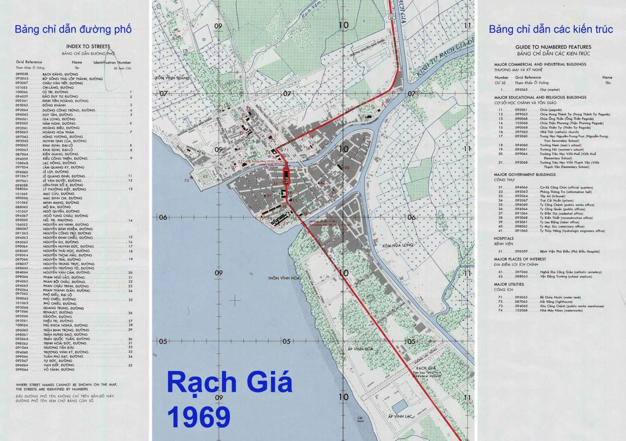 Bản đồ Thị xã Rạch Giá năm 1969