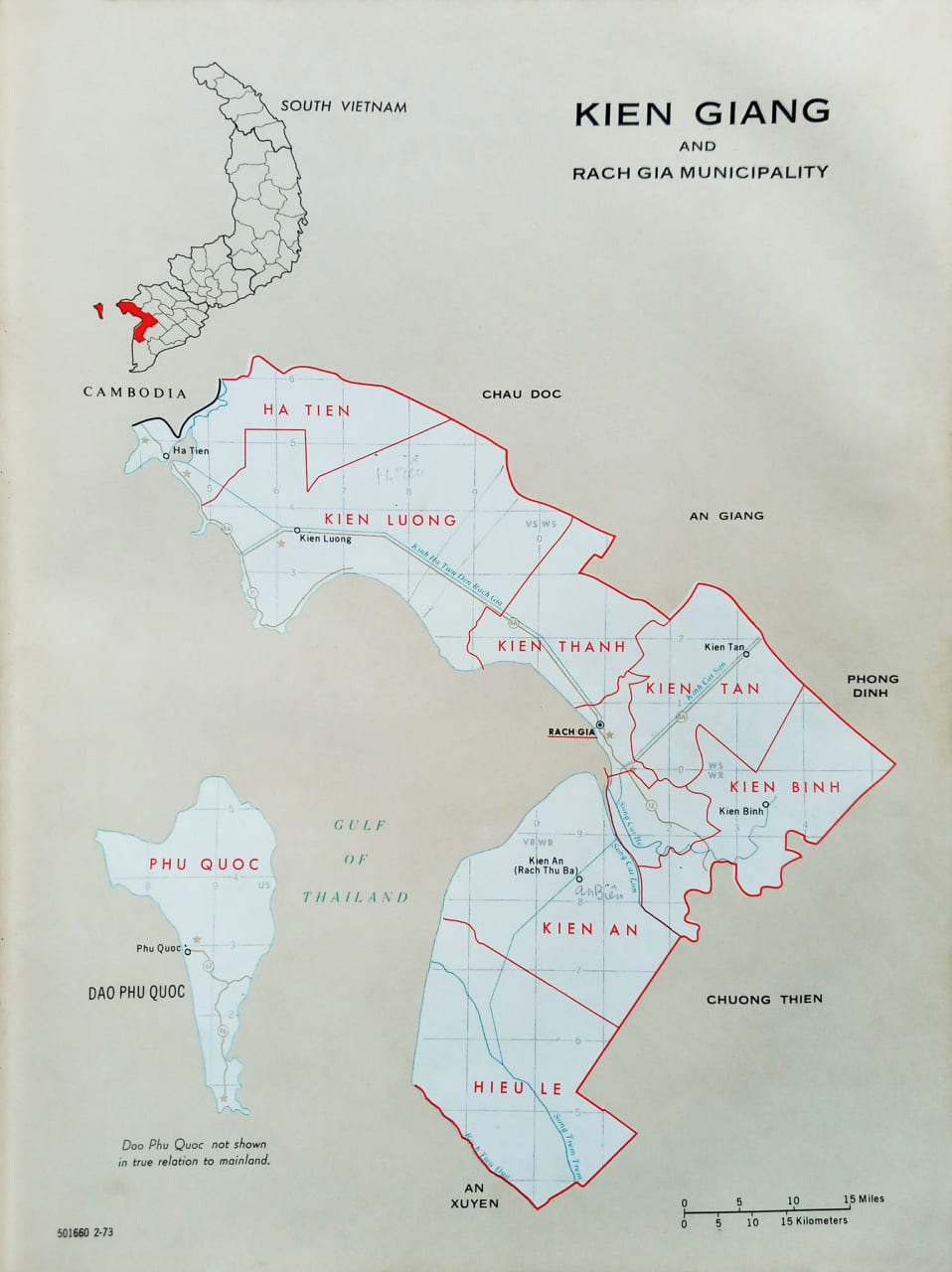 Bản đồ Thị xã Rạch Giá, tỉnh Kiên Giang năm 1973