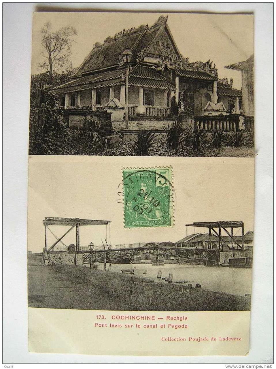 Chùa Phật Lớn và kênh Rạch Giá trên một tấm poster năm 1911