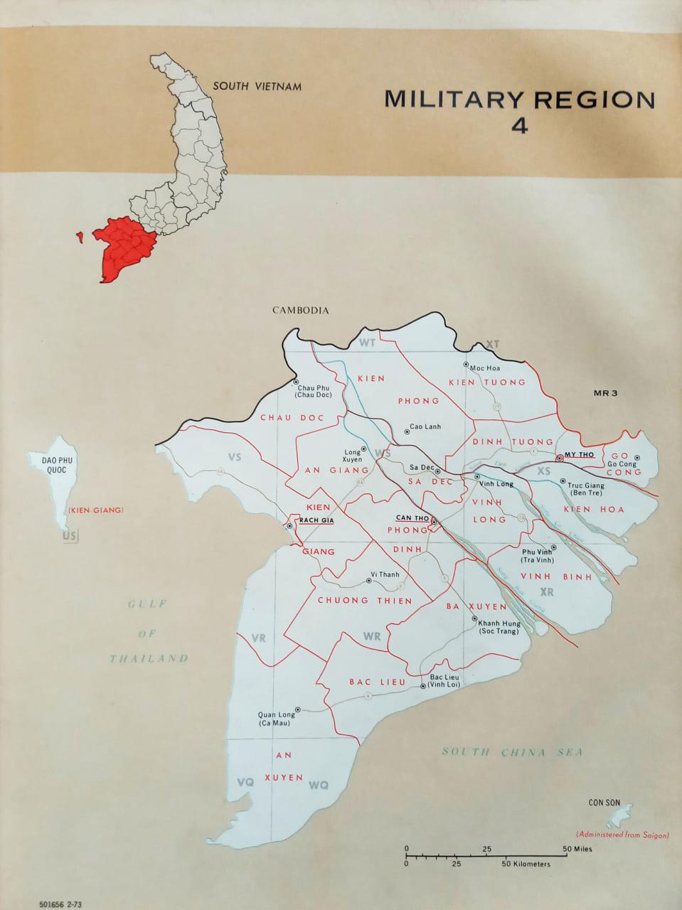 Bản đồ vùng 4 chiến thuật năm 1972 Military region