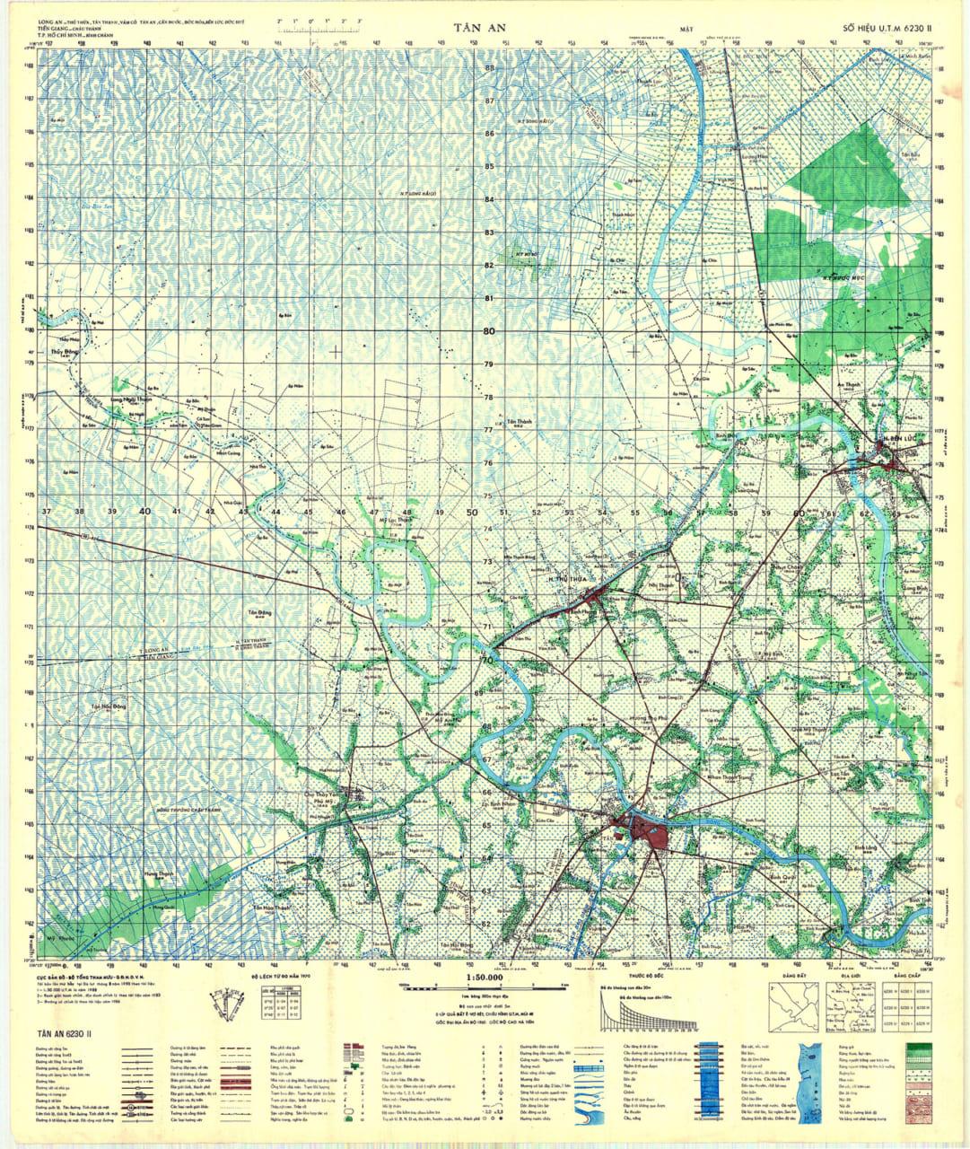Bản đồ Tân An xưa được in lại năm 1990
