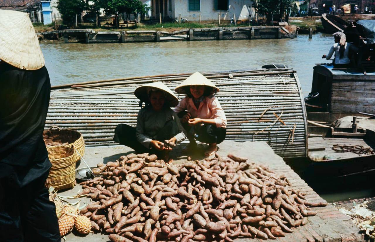Những người bán kkhoai ở chợ năm 1968 - Photo by Carl Mydans