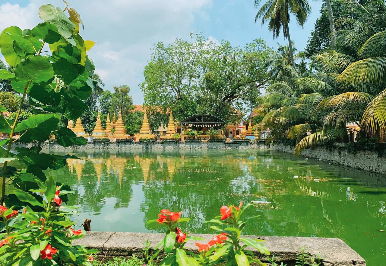 Khung cảnh xanh mát ở bên bờ hồ chùa Xà Tón