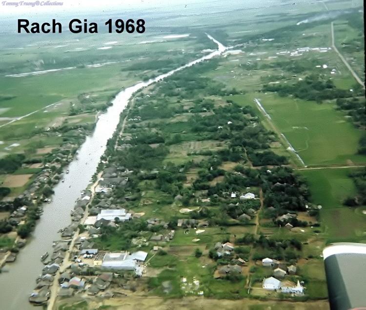Không ảnh nhánh sông Cái Sắn - Kiên Thành (Rạch Sỏi) Rạch Giá Kiên Giang năm 1968 - Photo by Joe Tilghma