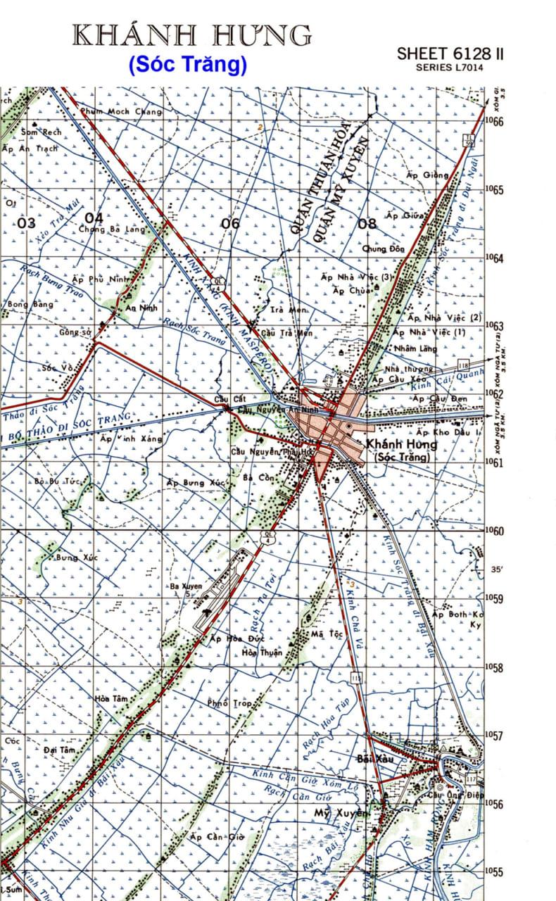Bản đồ thị xã Khánh Hưng năm 1965