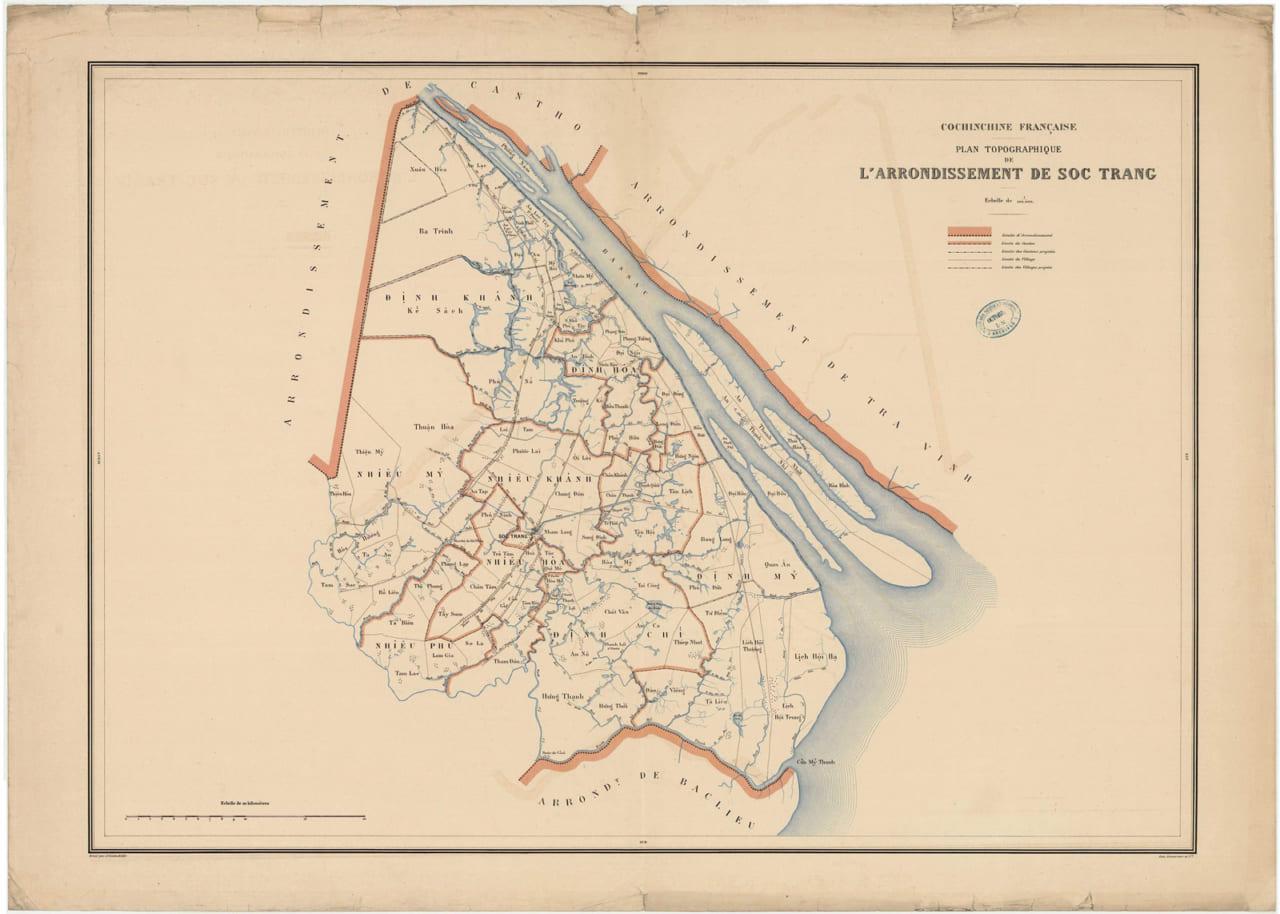 Bản đồ Sóc Trăng 1888 - In tại Paris