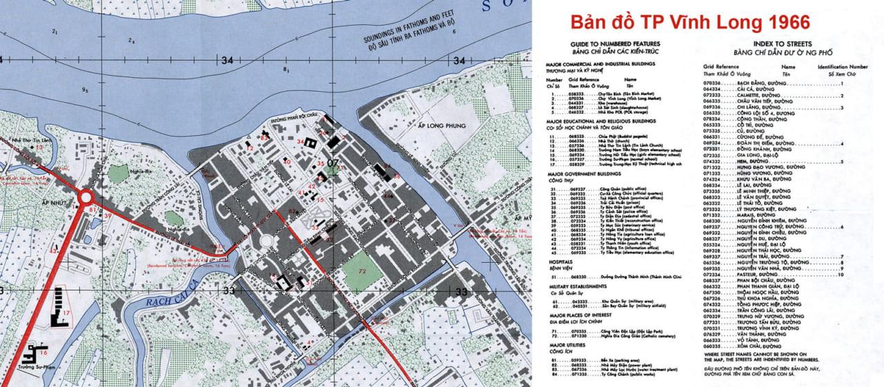 Bản đồ thành phố Vĩnh Long năm 1966 tái bản với chú thích kỹ hơn