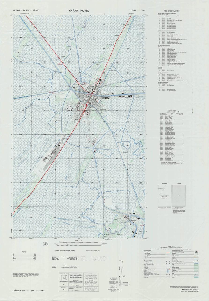 Bản đồ Thị xã Khánh Hưng năm 1969 (Trung tâm thành phố Sóc Trăng ngày nay)
