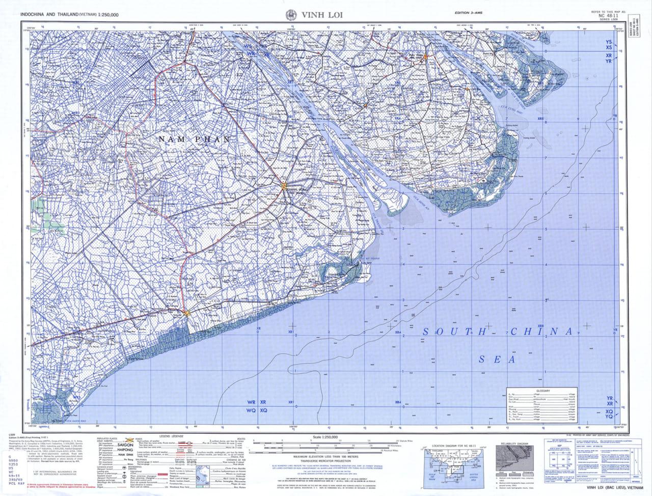 Bản đồ Vĩnh Lợi (Thuộc tỉnh Sóc Trăng trước đây) năm 1954